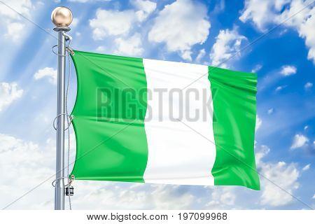 Nigerian flag waving in blue cloudy sky 3D rendering