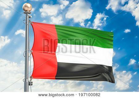 UAE flag waving in blue cloudy sky 3D rendering