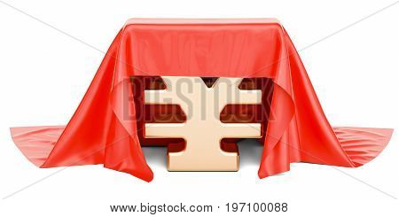 yen or yuan covered red cloth 3D rendering isolated on white background