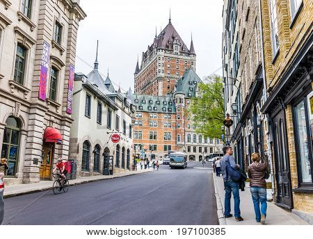 Quebec City, Canada - May 29, 2017: Old Town Fort Street With Steep Incline And Cityscape Skyline Vi