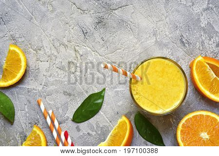 Fresh Organic Orange Juice.top View With Space For Text.
