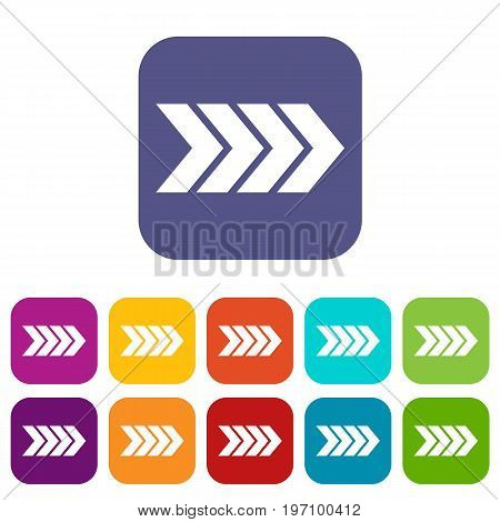 Striped arrow icons set vector illustration in flat style in colors red, blue, green, and other