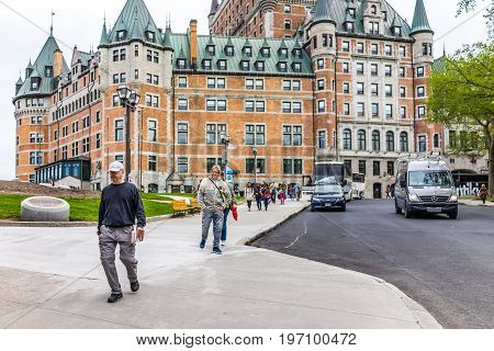 Quebec City, Canada - May 29, 2017: Old Town Street With View Of Hotel Chateau Frontenac With Happy