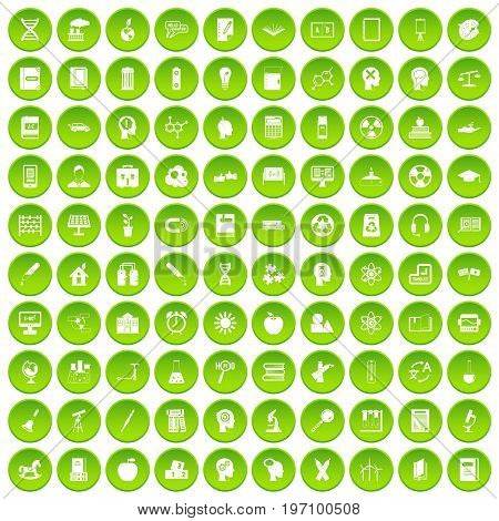 100 education icons set in green circle isolated on white vectr illustration