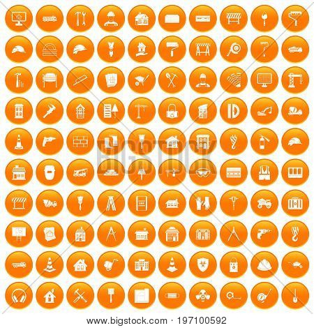 100 construction icons set in orange circle isolated on white vector illustration