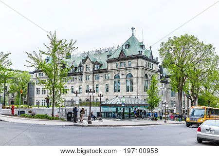 Quebec City, Canada - May 29, 2017: Old Town Street With Hotel De Ville City Hall Road And Many Peop