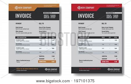Set of Invoice template sample with trendy minimalism design. Illustrated vector.