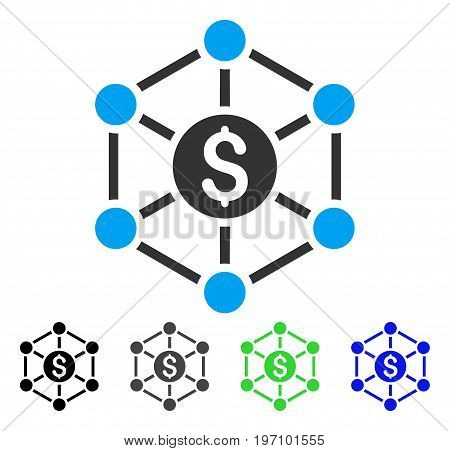 Financial Radial Scheme flat vector pictograph. Colored financial radial scheme gray, black, blue, green pictogram versions. Flat icon style for graphic design.
