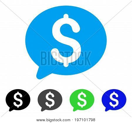 Money Message flat vector illustration. Colored money message gray, black, blue, green icon versions. Flat icon style for web design.