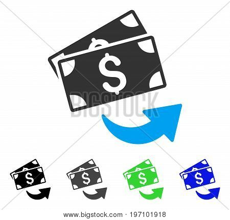Send Money flat vector icon. Colored send money gray, black, blue, green pictogram versions. Flat icon style for application design.