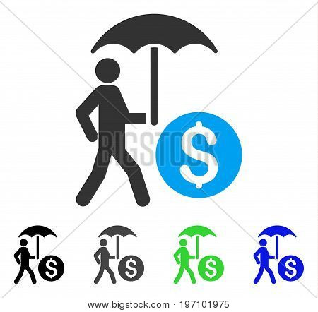 Walking Banker With Umbrella flat vector illustration. Colored walking banker with umbrella gray, black, blue, green pictogram versions. Flat icon style for graphic design.
