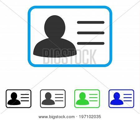 Account Card flat vector illustration. Colored account card gray, black, blue, green pictogram versions. Flat icon style for web design.