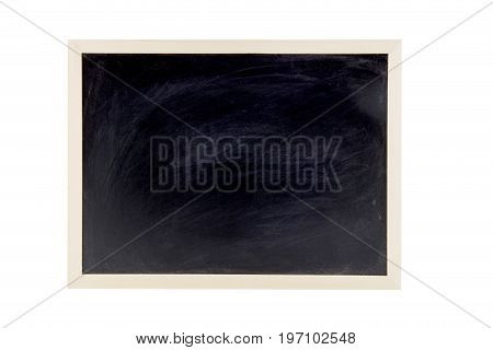 Blackboard With Wooden Bamboo Frame, Blackboard On White Background For Concept Education