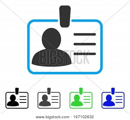 Personal Badge flat vector pictograph. Colored personal badge gray, black, blue, green pictogram versions. Flat icon style for graphic design.