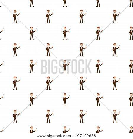 Teacher pattern seamless repeat in cartoon style vector illustration