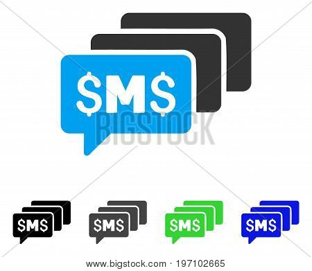 SMS Messages flat vector illustration. Colored sms messages gray, black, blue, green pictogram variants. Flat icon style for web design.