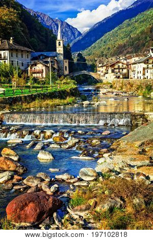 Picturesque Alpine village Lillianes in Valle d'Aosta, North Italy. Scenic Alpine nature