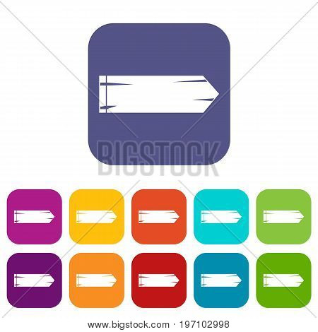 Thick arrow icons set vector illustration in flat style in colors red, blue, green, and other