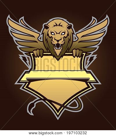 Angry lion logotype with shield. Design element