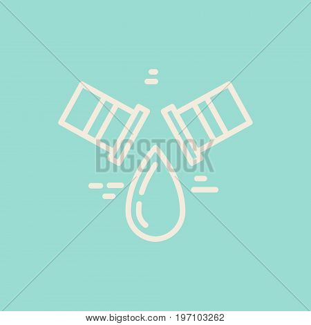 Modern line style logo for repair company or plumbing service provider with leaking pipe. Isolated design element - text can be easily changed for your company name.