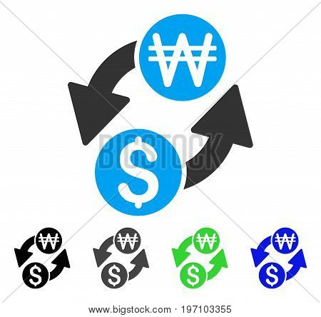 Dollar Korean Won Exchange flat vector icon. Colored dollar korean won exchange gray, black, blue, green icon variants. Flat icon style for web design.