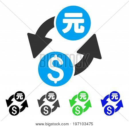 Dollar Yuan Exchange flat vector illustration. Colored dollar yuan exchange gray, black, blue, green icon variants. Flat icon style for web design.
