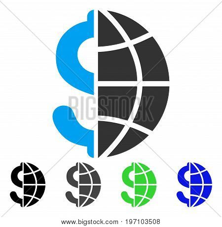 Global Business flat vector pictogram. Colored global business gray, black, blue, green pictogram variants. Flat icon style for web design.