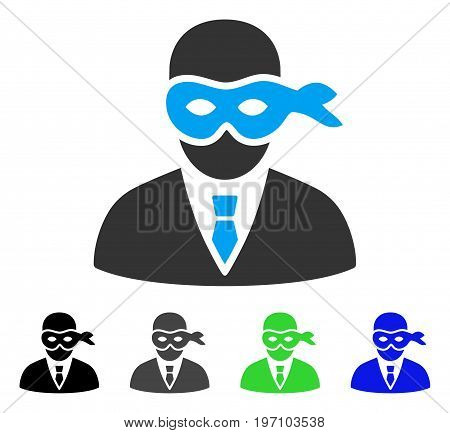Masked Thief flat vector icon. Colored masked thief gray, black, blue, green pictogram versions. Flat icon style for application design.
