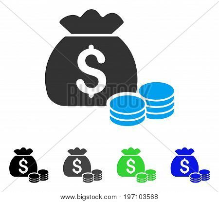 Money Bag flat vector pictograph. Colored money bag gray, black, blue, green pictogram variants. Flat icon style for web design.
