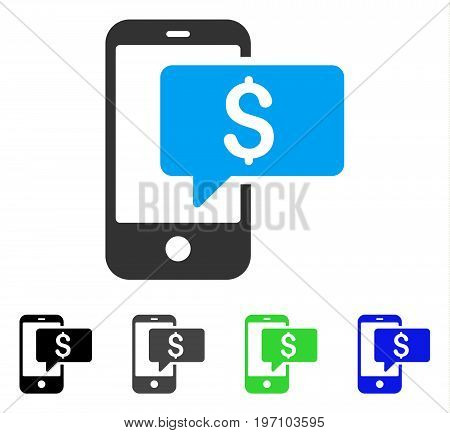 Money Phone SMS flat vector icon. Colored money phone sms gray, black, blue, green pictogram variants. Flat icon style for application design.