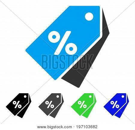 Percent Discount Tags flat vector icon. Colored percent discount tags gray, black, blue, green pictogram variants. Flat icon style for application design.