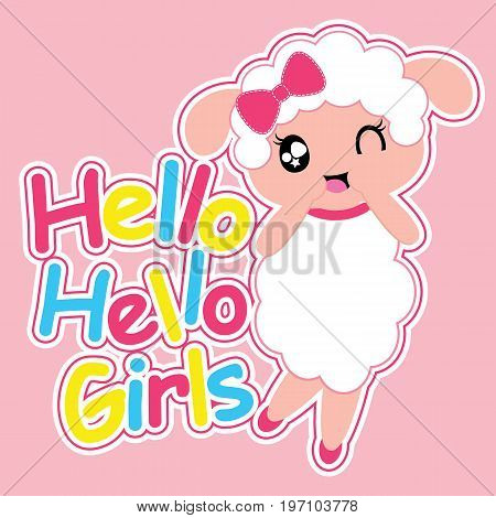 Cute sheep girl says hello girls vector cartoon illustration for kid t shirt design, nursery wall, and wallpaper