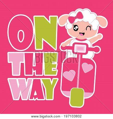 Cute sheep girl drives motorcycle vector cartoon illustration for kid t shirt design, nursery wall, and wallpaper