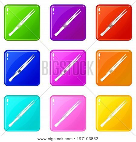 Tweezers icons of 9 color set isolated vector illustration