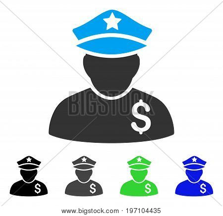Financial Policeman flat vector illustration. Colored financial policeman gray, black, blue, green icon variants. Flat icon style for application design.