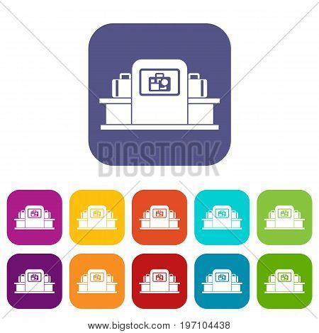 Airport baggage security scanner icons set vector illustration in flat style in colors red, blue, green, and other