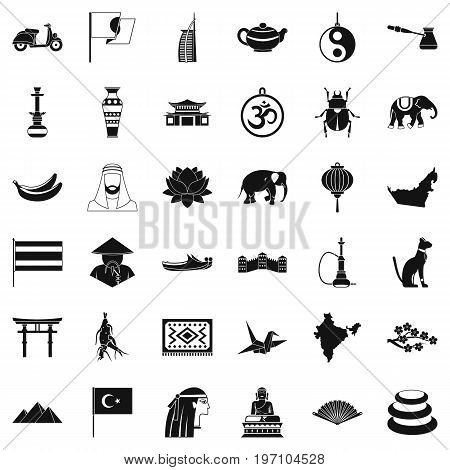 Asia icons set. Simple style of 36 asia vector icons for web isolated on white background