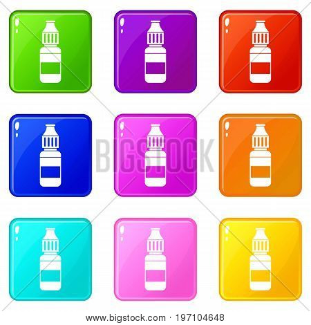 Liquid for electronic cigarettes icons of 9 color set isolated vector illustration