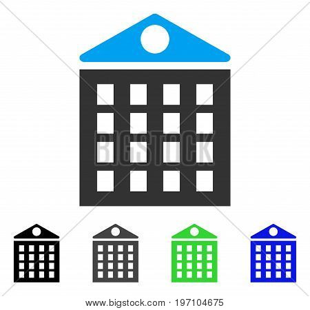 Multi-Storey House flat vector pictogram. Colored multi-storey house gray, black, blue, green pictogram versions. Flat icon style for web design.