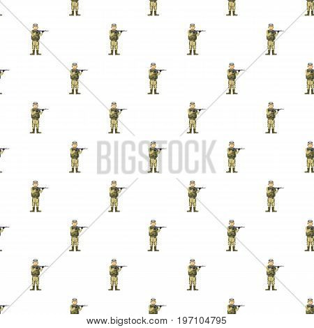 Infantryman with weapons pattern seamless repeat in cartoon style vector illustration