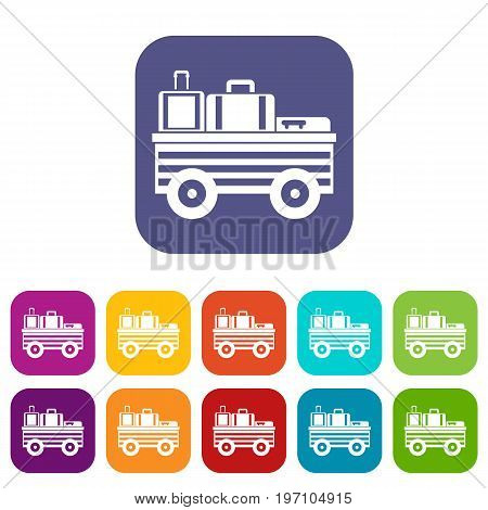 Service cart with luggage icons set vector illustration in flat style in colors red, blue, green, and other