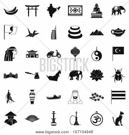 Asian trip icons set. Simple style of 36 asian trip vector icons for web isolated on white background