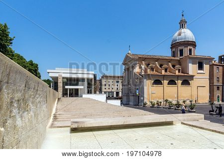 ROME, ITALY - JUNE 22, 2017: view of Chiesa di San Rocco all Augusteo in Rome, Italy
