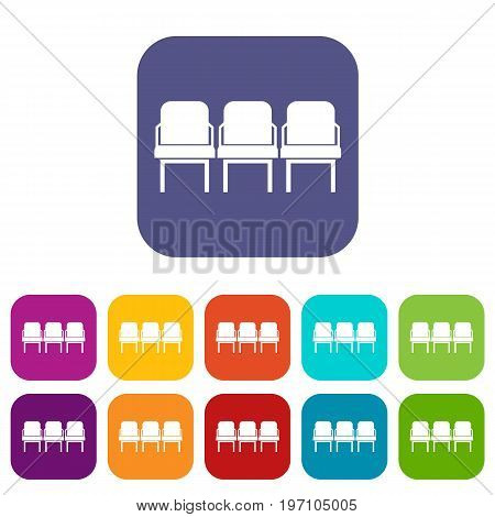 Chairs in the departure hall at airport icons set vector illustration in flat style in colors red, blue, green, and other