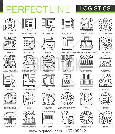 Logistics outline mini concept symbols. Modern stroke linear style illustrations set. Logistic transportation perfect thin line icons.