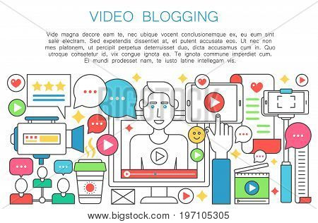 Video blogger flat line concept. Computer screen with man blogger. Personal blogging channel broadcasting thin outline stroke vector illustration