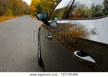 The car on the nature near autumn tree