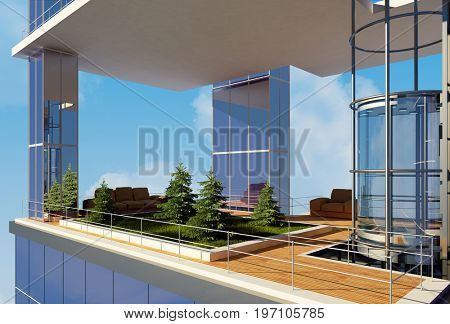 Sitting area in a modern office.,3d render.