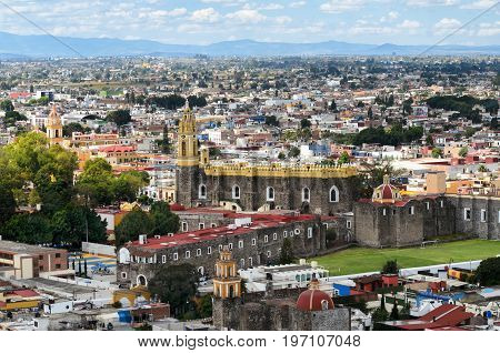 CHOLULA MEXICO 16 OCTOBER 2015: Aerial view to downtown of Cholula town