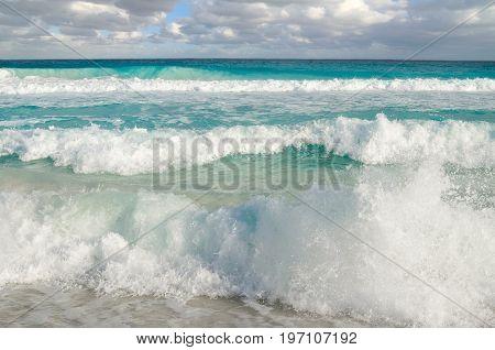 Waves at Caribbean sea - natural background